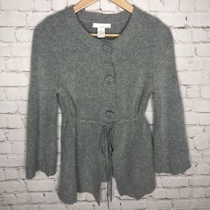 Lucy And Laurel Angora Wool Blend Flounce Cardigan